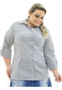 Camisa Tricoline Plus Size Confidencial Extra Listrada Preto