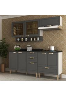 Cozinha Completa 6 Peã§As Americana Multimã³Veis 5916 Branco/Grafite - Branco/Incolor - Dafiti