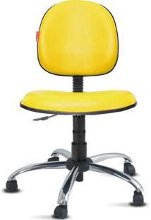 Cadeira Executiva Giratória Cromada Courvin Amarela