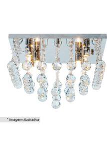 Plafon Quadrado Com Pingentes- Cristal & Prateado- 2Hevvy