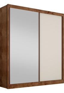 Guarda-Roupa Solteiro Com Espelho 2 Portas Virtus-Novo Horizonte - Canela / Off White