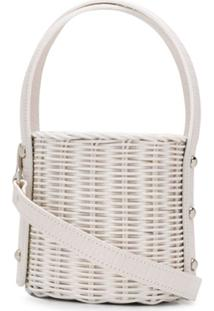 Wicker Wings Wicker Bucket Bag - Branco