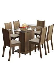 Sala De Jantar Madesa Base De Madeira Com Tampo De Vidro E 6 Cadeiras Gales - Rústico E Pérola Marrom