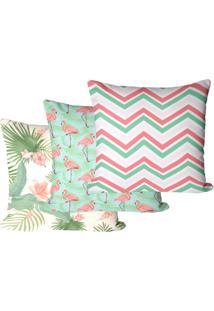 Kit Com 3 Capas Para Almofadas Floral Flamingo 45X45Cm - Tricae