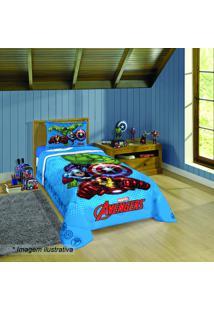 Edredom Avengersâ® Solteiro- Azul & Vermelho- 150X200Lepper