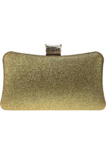 Bolsa Clutch Liage Festa Brilhante Pedraria Metal Brilho Alça Alcinha Dourada - Kanui