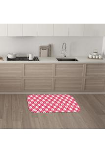 Tapete De Cozinha Mdecore Coração Rosa 40X60Cm