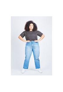 Calça Mom Jeans Azul Retrô Gang Plus Size Feminina