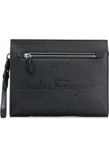 Salvatore Ferragamo Logo-Debossed Leather Clutch - Preto