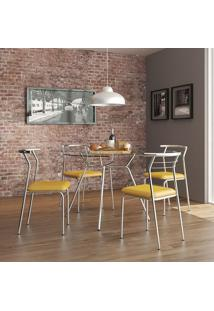 Mesa 1527 Vidro Incolor Cromada Com 4 Cadeiras 1708 Amarela Carraro
