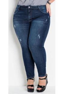 Calça Cigarrete Plus Size Jeans Com Puídos
