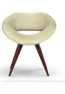 Poltrona Beijo Areia Cadeira Decorativa Com Base Fixa De Madeira