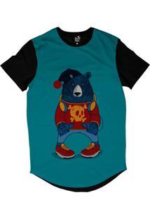 Camiseta Longline Long Beach Urso Gorro Sublimada Azul