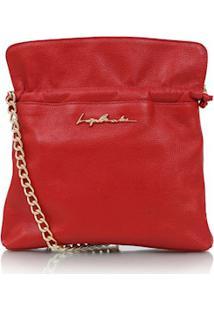 Bolsa Saco Em Couro Vermelho Com Alça Dourada
