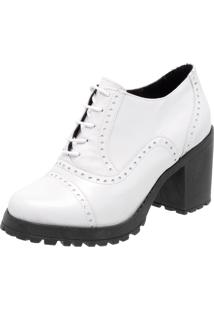Oxford Ankle Boot Em Couro Q&A Casual Branco