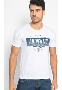 "Camiseta ""Authentic""- Branca & Azul Marinhowrangler"