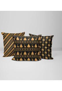 Kit 3 Capas Para Almofadas Love Decor Decorativas Premium Gold Christmas