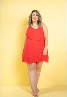 Vestido Gingado Vermelho Plus Size