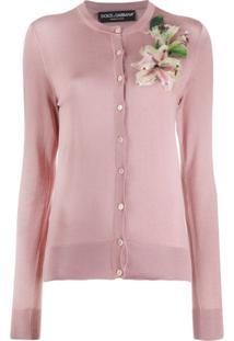 Dolce & Gabbana Cardigan Com Bordado De Flor - Rosa