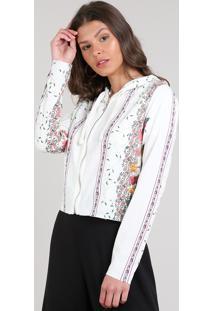 Blusão Feminino Estampado Floral Em Moletom Com Zíper Off White