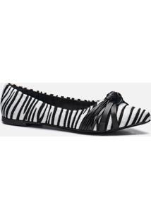 Sapatilha Feminino Milano Zebra/Preto 10588