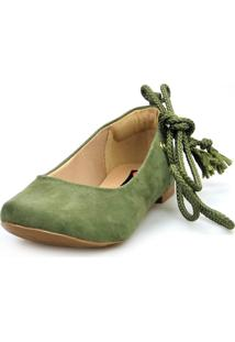 Sapatilha Love Shoes Bico Redondo Lace Up Camurça Militar