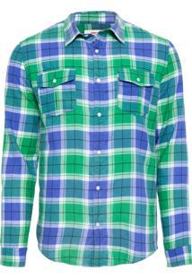 Camisa Masculina Tropical Check - Verde