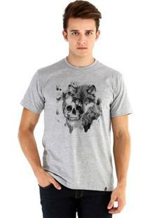 Camiseta Ouroboros Manga Curta The Wolf - Masculino-Cinza