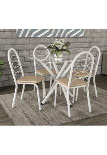 Conjunto De Mesa Tampo Vidro Volga Com 4 Cadeiras Holanda Crome Kappesberg Branco/Nude