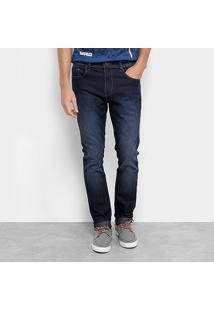 Calça Jeans Acostamento Slim Fit Masculino - Masculino-Azul Escuro