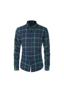 Camisa Masculina Xadrez Berwick - Navy E Verde