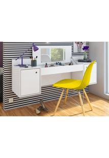 Penteadeira Albatroz Camarim Atração Com Espelho Branco E Cadeira Charles Amarela