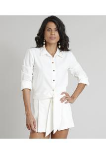 19a17f239e Camisa Feminina Água De Coco Cropped Em Linho Bordada De Coqueiros Manga  Longa Off White