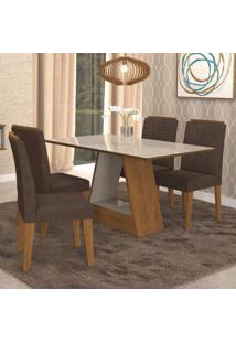 Conjunto Sala De Jantar Mesa Alana 4 Cadeiras Nicole Cimol Savana/Branco Off White/Cacau