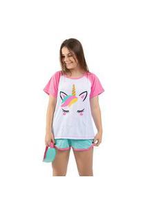 Baby Doll 4 Estações Pijama Com Tapa Olho Raglan Verão Curto Unicórnio Short Branco