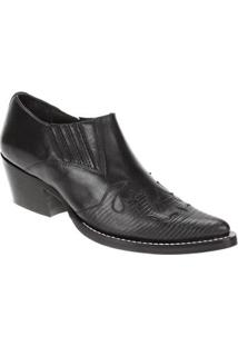 Bota Couro Texana West Country Masculino - Masculino-Preto