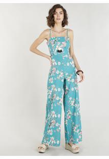 9bd82615b ... Macacão Feminino Estampado Floral Com Linho E Amarração Verde Água