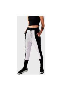 Calça Moletinho Brohood Saruel Ninja Feminina Bicolor Preto Branco