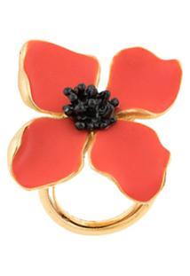 Oscar De La Renta Anel Floral - Vermelho