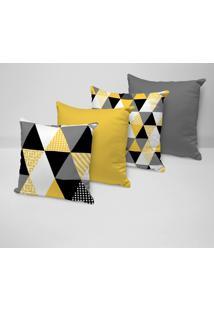 Kit 4 Capas Para Almofadas Decorativas Multi Triângulos Amarelos 45X45Cm