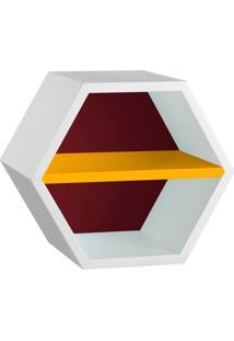 Nicho Hexagonal Favo Ii Com Prateleira Branco Com Bordo E Amarelo