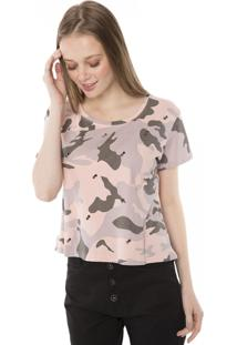Camiseta T-Shirt Camuflada Com Aplicação Tachas Pop Me Rosa