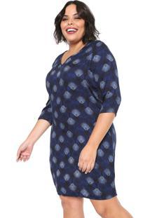 Vestido Habana Plus Curto Estampado Azul-Marinho