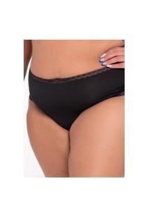 Calcinha Click Chique Biquíni Plus Size Básica Rendinha Preto