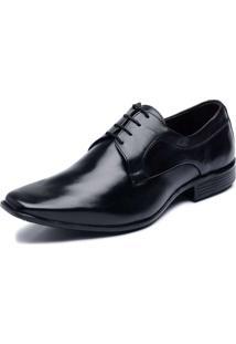 Sapato Social Clacle Em Couro Preto Com Cadarço