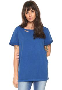 Camiseta Replay Rasgada Azul