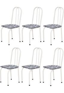 Cadeira Assento Reto 6 Peças 00101 Branco Cinza Floral Archeli