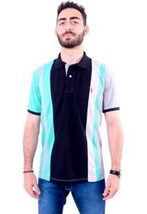 Camisa Polo Golf Club Trios - Masculino-Preto+Cinza