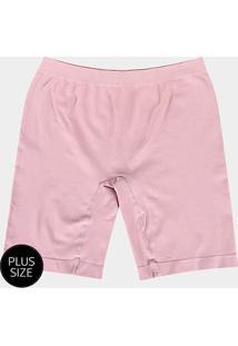 2cf1c3c7b83b74 Shorts Modelador Lupo Sem Costura Plus Size - Feminino-Rosa Claro