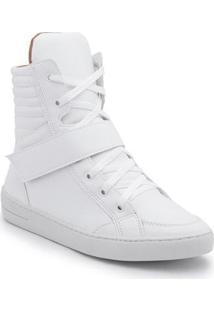 Tênis Top Franca Shoes Cano Alto Feminino - Feminino-Branco